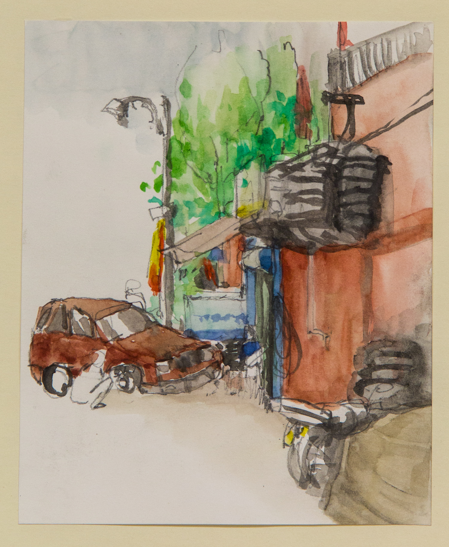 Malvya Nagar tire house; 15 x 22 cm; watercolour, ink and coloured pencil on Paper; 2016