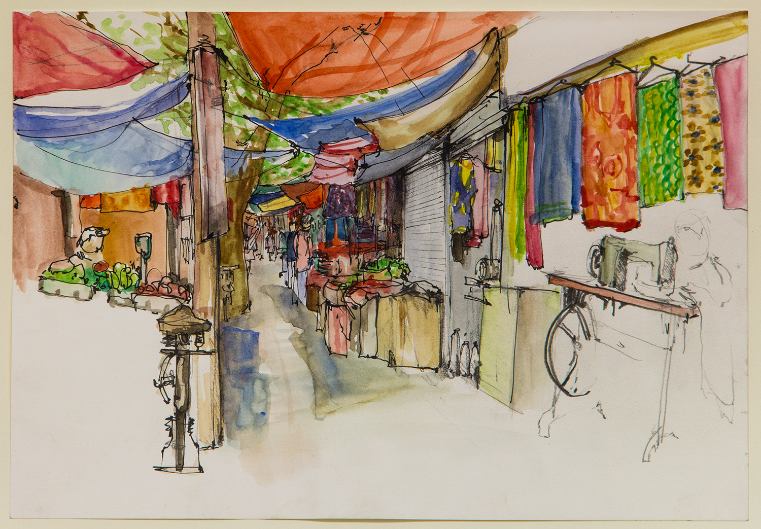 Malvya Nagar main market; 28 x 20 cm; watercolour, ink and coloured pencil on Paper; 2016
