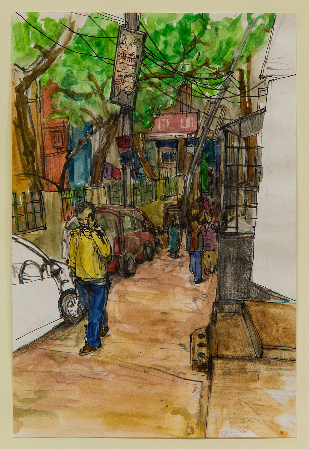 Malvya Nagar; 20 x 28 cm; watercolour, ink and coloured pencil on Paper; 2016