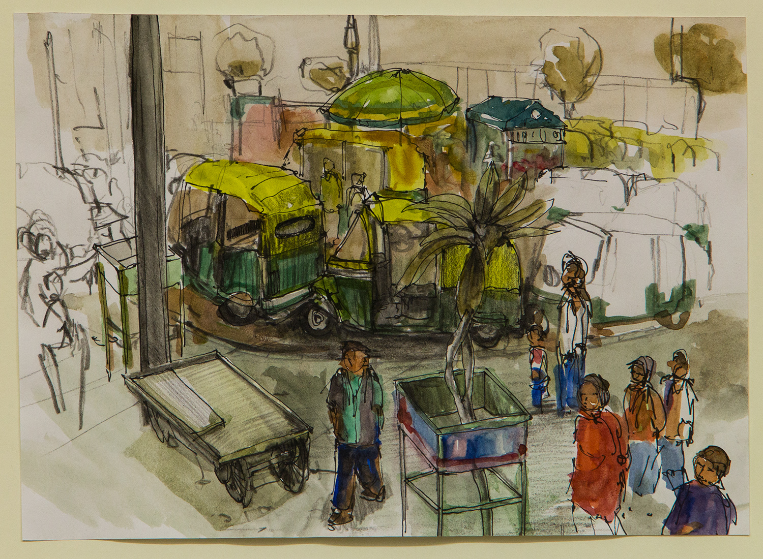 Malvya Nagar; 28 x 20 cm; watercolour, ink and coloured pencil on Paper; 2016