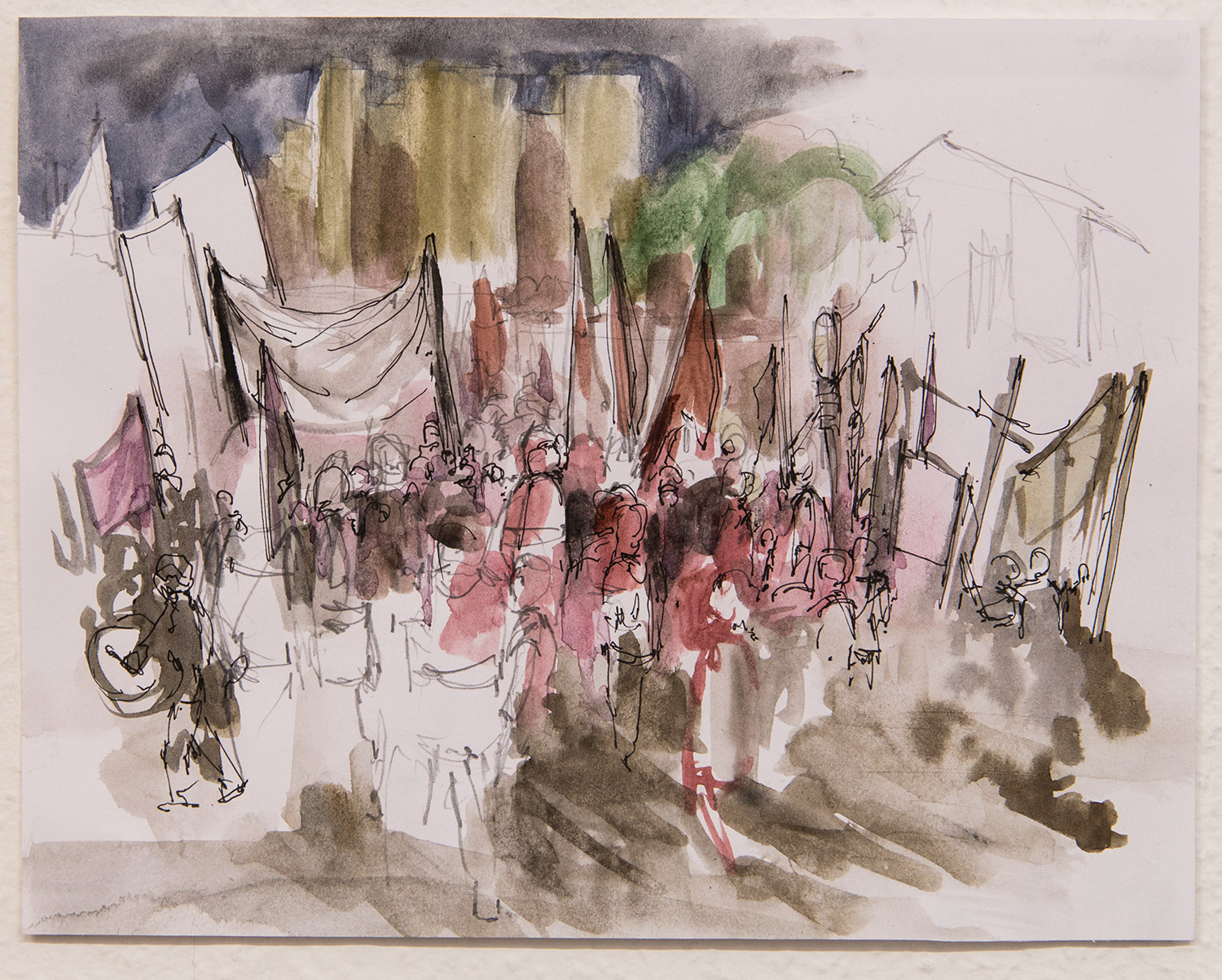 Plaza de Mayo - 8 de Marzo; 24 x 18 cm; watercolour, ink and pencil on paper; 2017