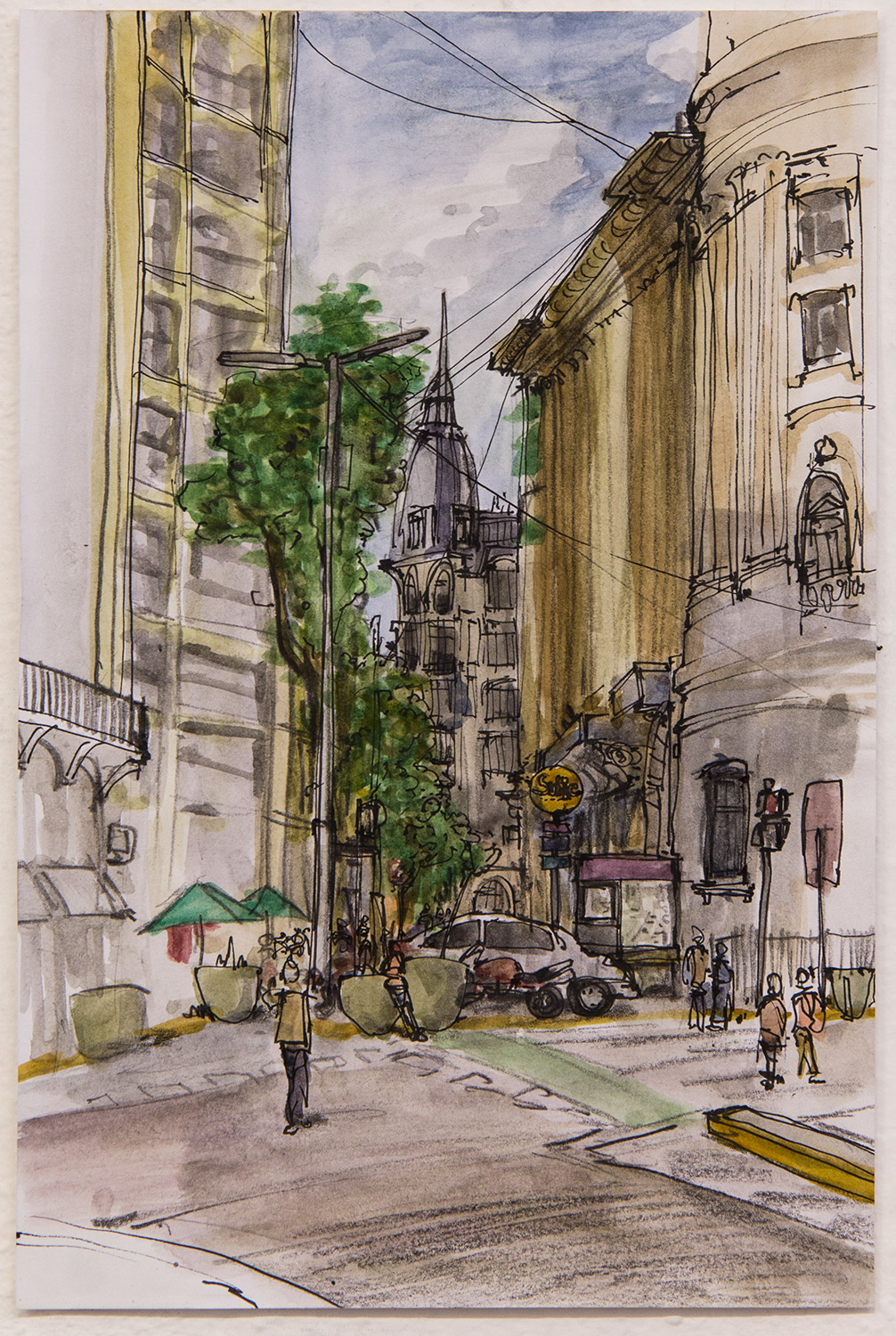 Roca - Plaza de los Vireyes; 19 x 29 cm; watercolour, ink and pencil on paper; 2017