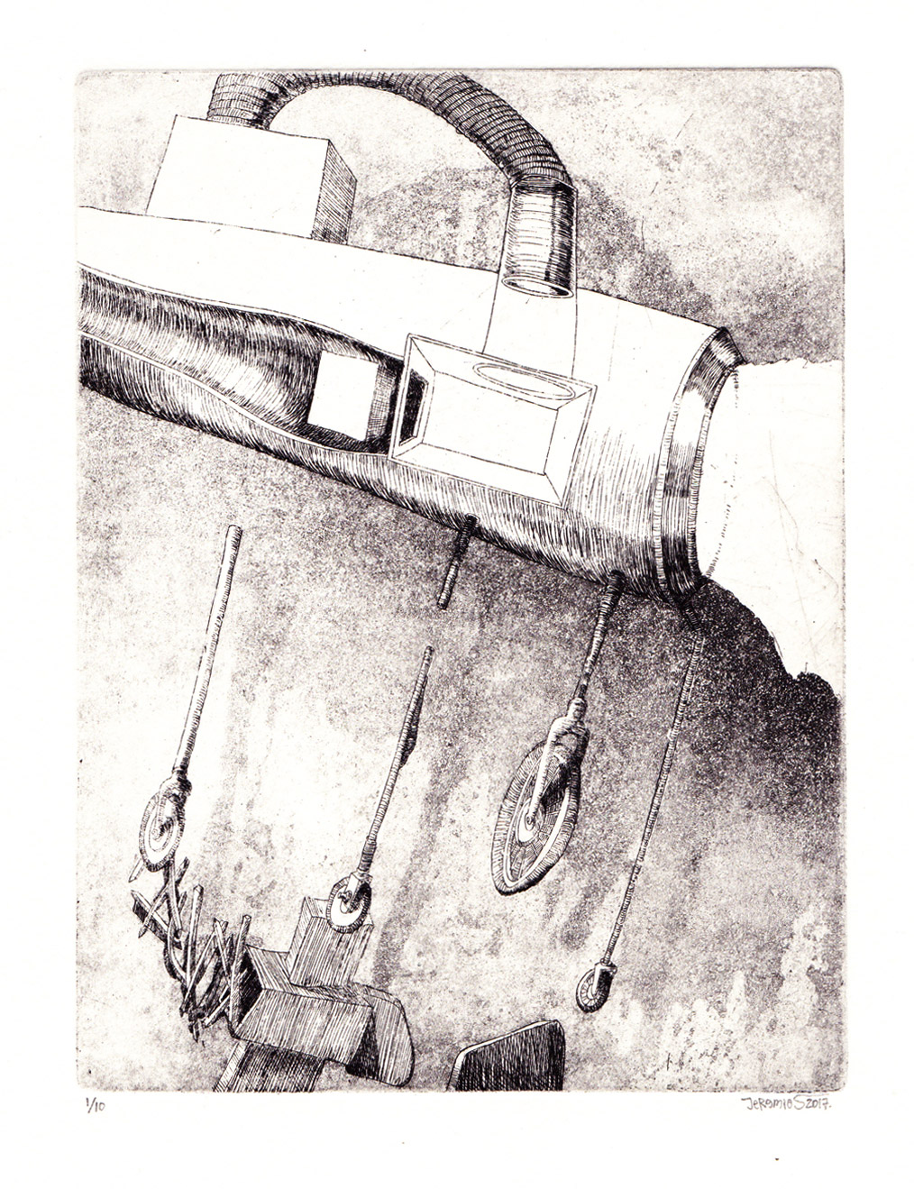Cubic Drive; 19,5 x 14,5 cm; etching and aquatint; 2017