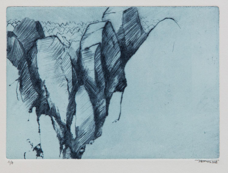 Glacier Perito Moreno; 20 x 15 cm; drypoint intaglio; edition of 6; 2018
