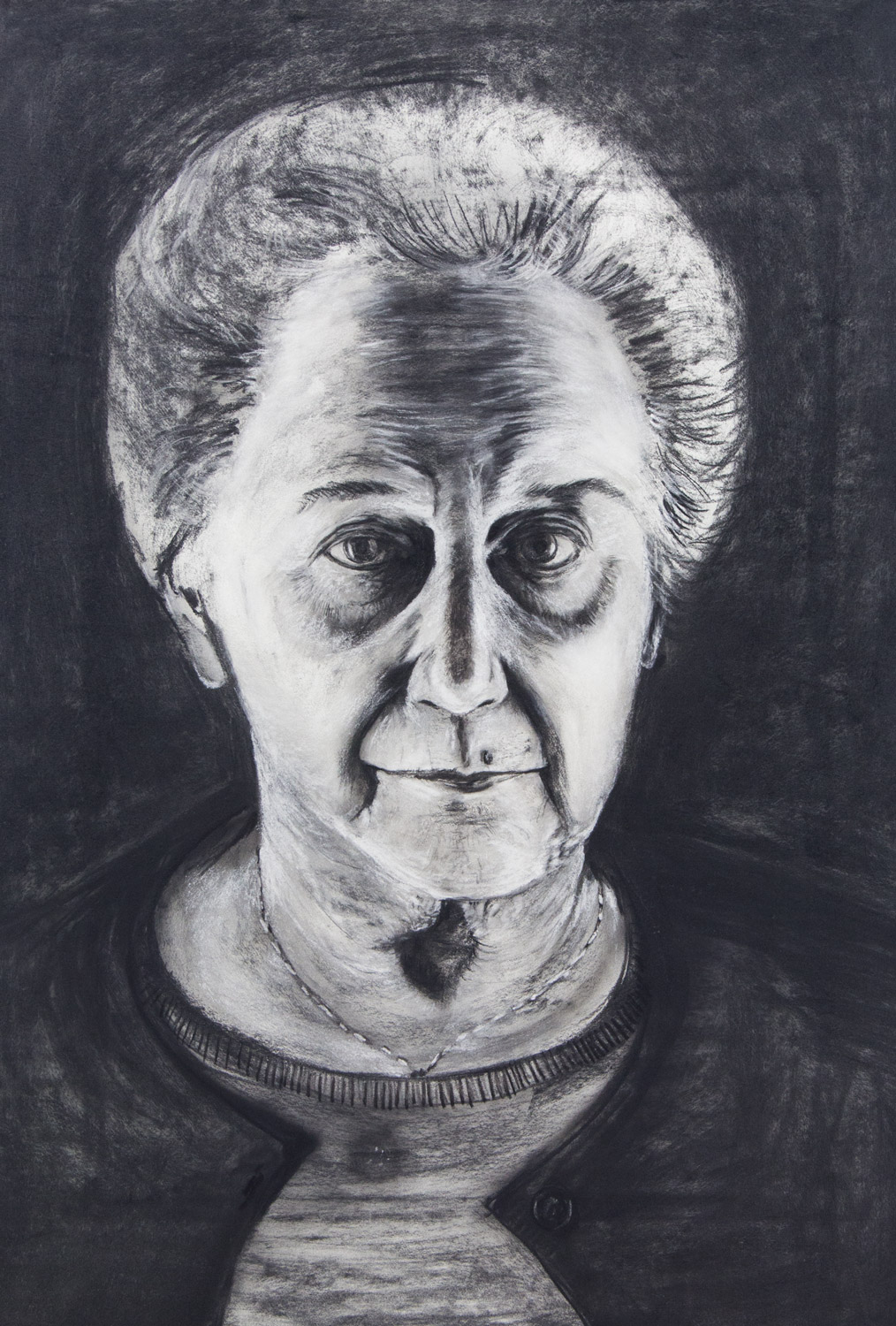 Brunhilde Krojer / Grandmother; 76 x 106 cm; charcoal and chalk on paper; 2018