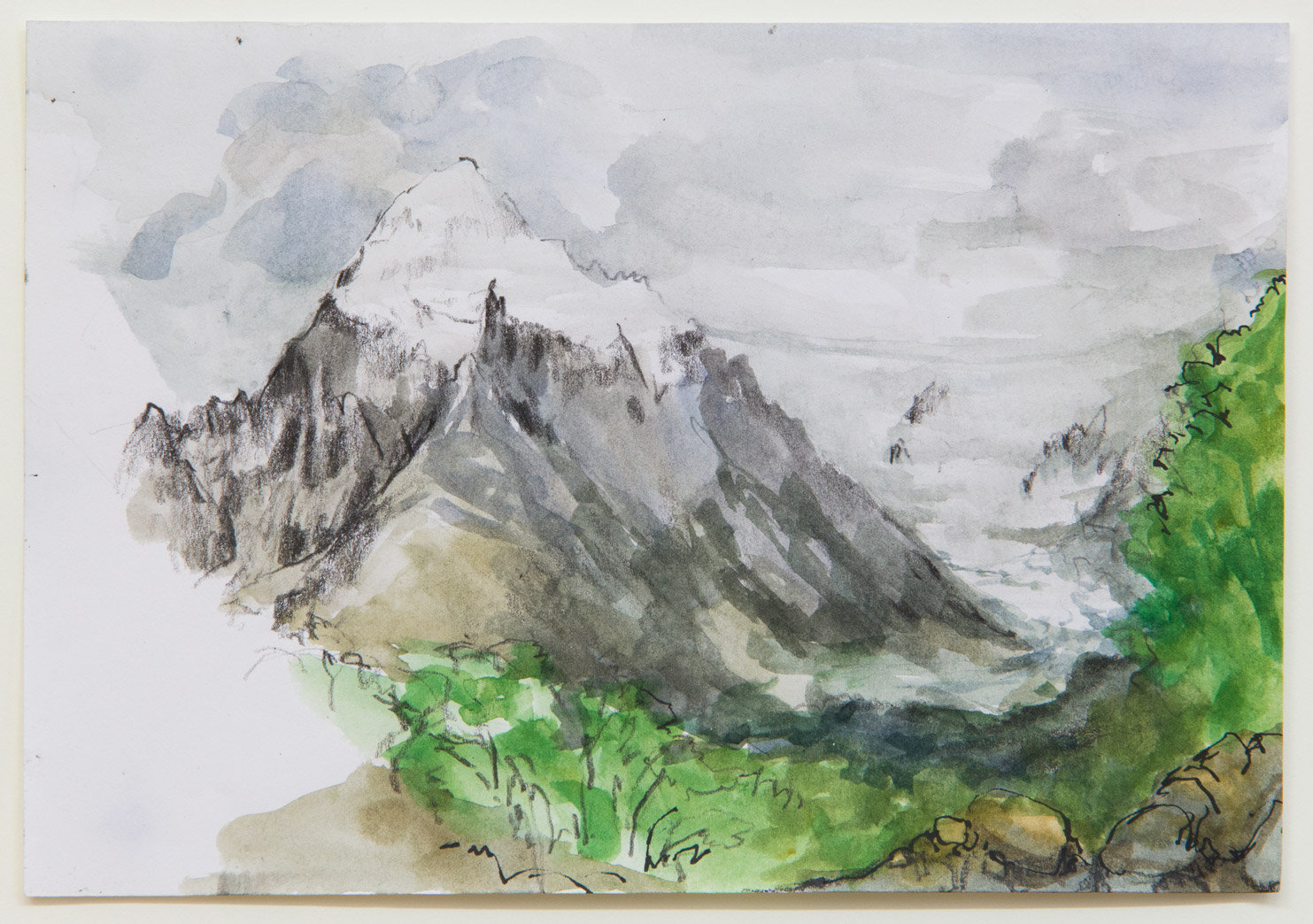 Cerro Torre; 21 x 15 cm; watercolour, ink and pencil on paper; 2018