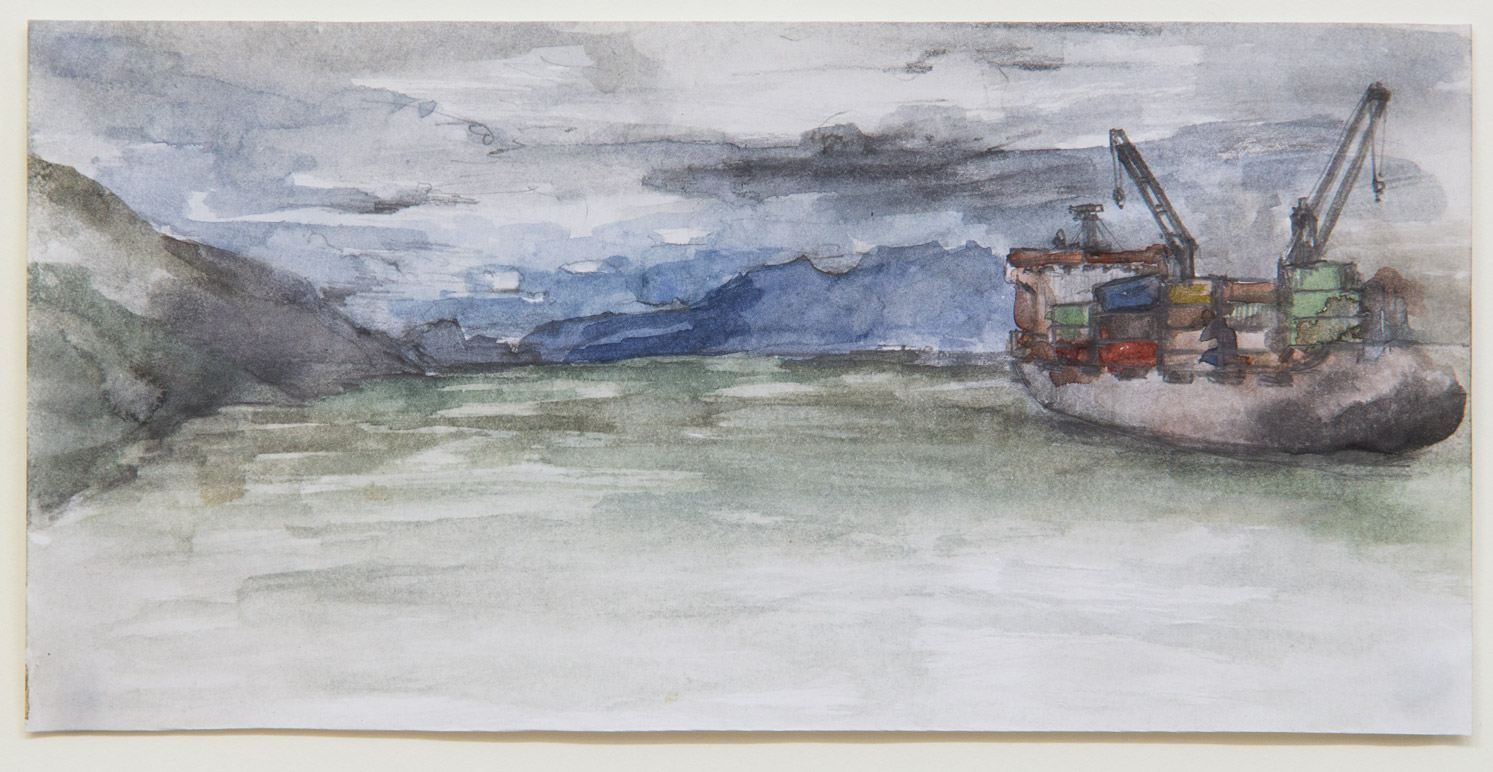 Ushuaia; 15 x 6 cm; watercolour, ink and pencil on paper; 2018
