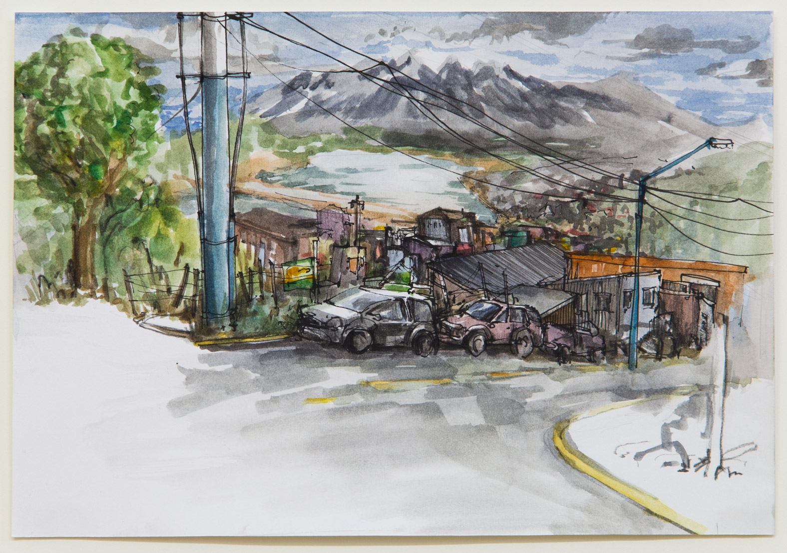 Ushuaia; 28 x 21 cm; watercolour, ink and pencil on paper; 2018