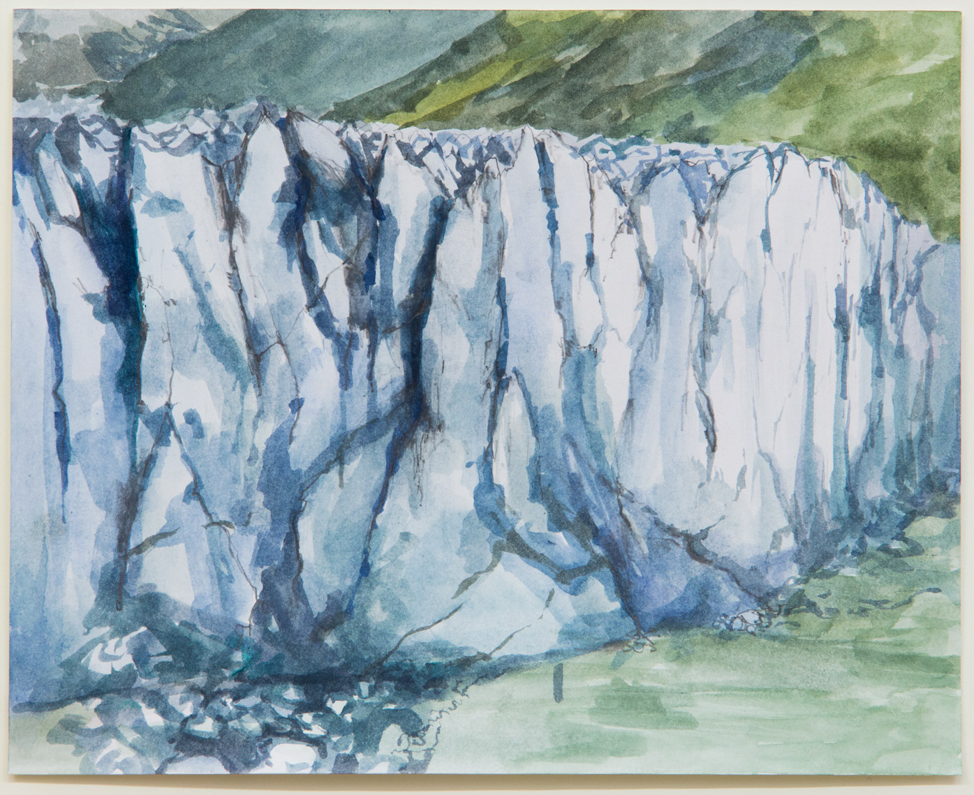 Glacier Perito Moreno; 28 x 21 cm; watercolour, ink and pencil on paper; 2018