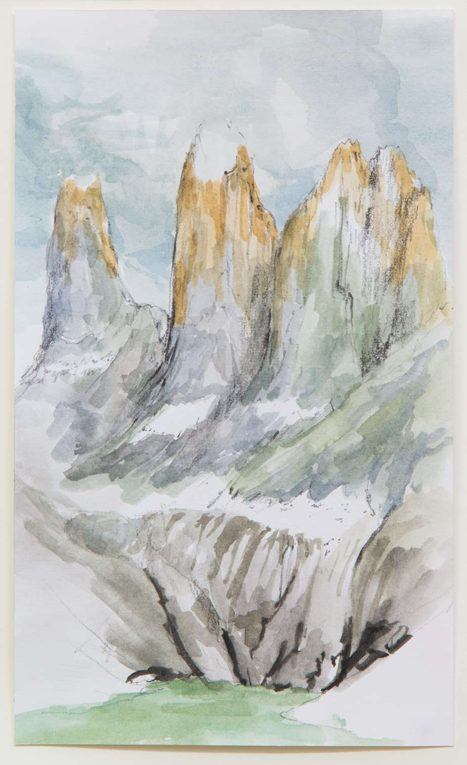 Torres del Paine; 28 x 21 cm; watercolour, ink and pencil on paper; 2018