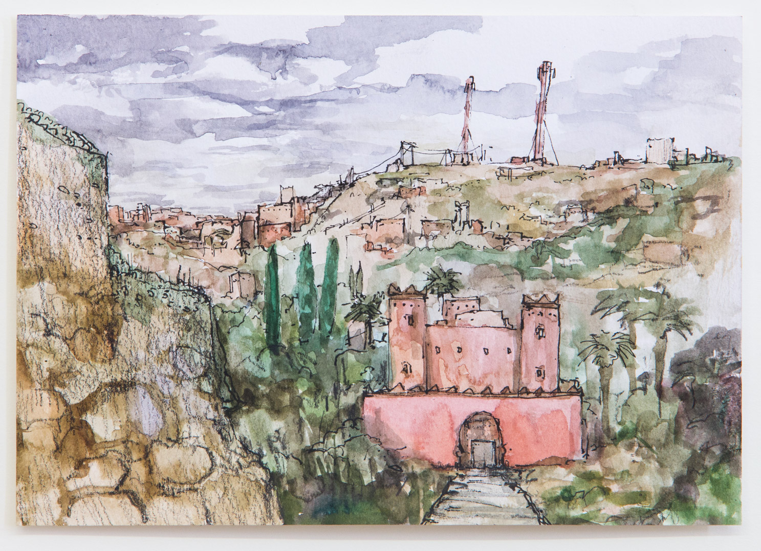 Ouarzazate; 21 x 15 cm; watercolour, ink and pencil on paper; 2018