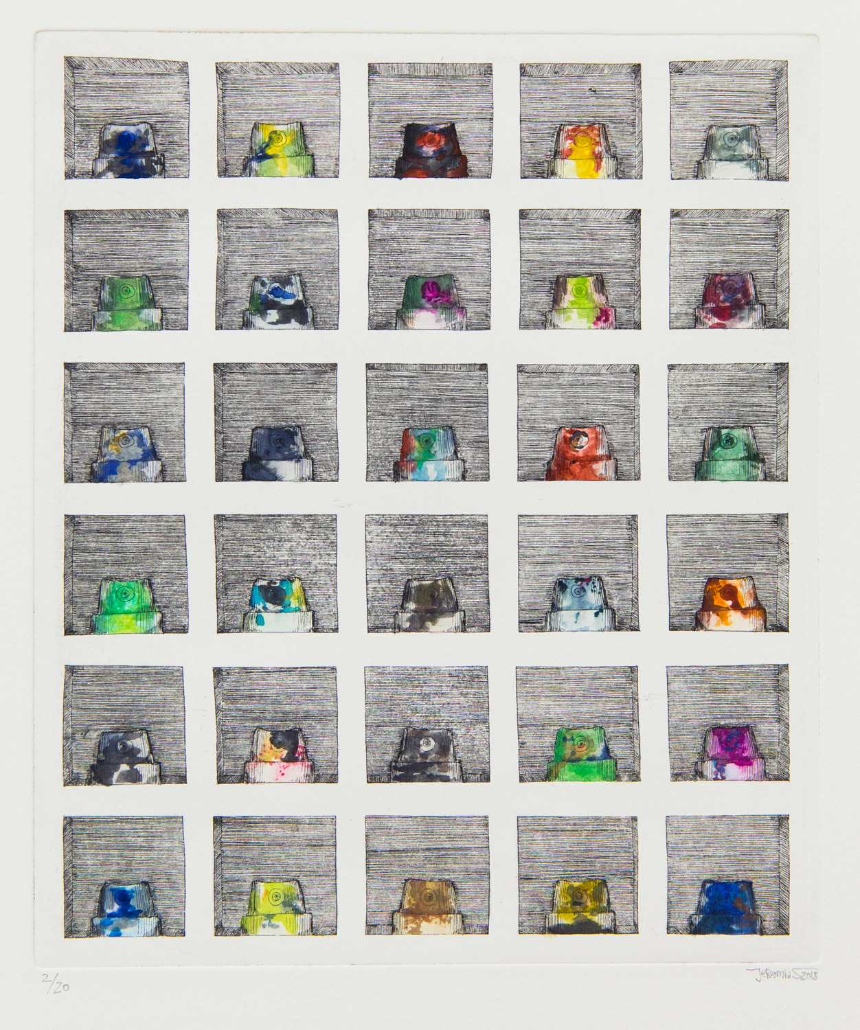 Nozzlebox 2D; Etching on Chest; plate size 26 x 31 cm, paper size 39 x 52 cm; edition 20; each page hand-coloured; 2018