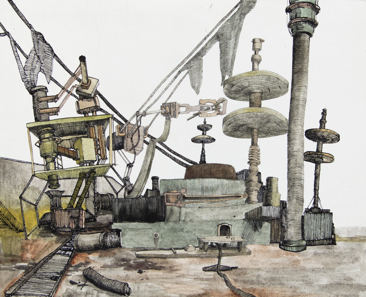 From the series: MACHINES 019; 39,5 cm x 32,5 cm; ink and watercolour on etching; 2019