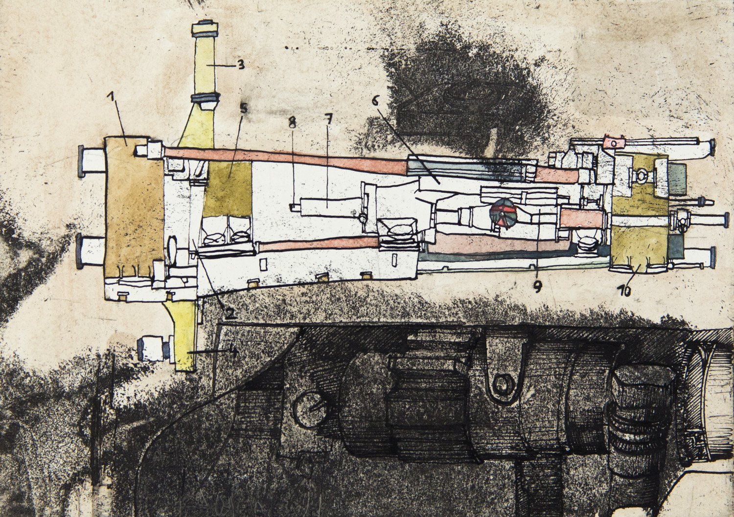 From the series: MACHINES 019; 20,5 cm x 14,5 cm; ink and watercolour on etching; 2019