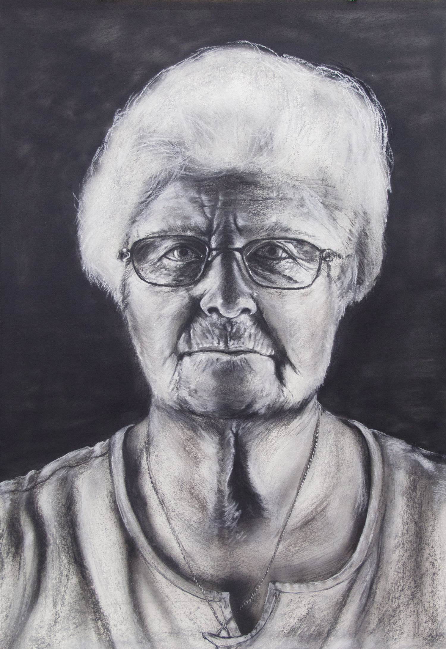 Anna Hahn / Grandmother; 76 x 106 cm; charcoal and chalk on paper; 2018
