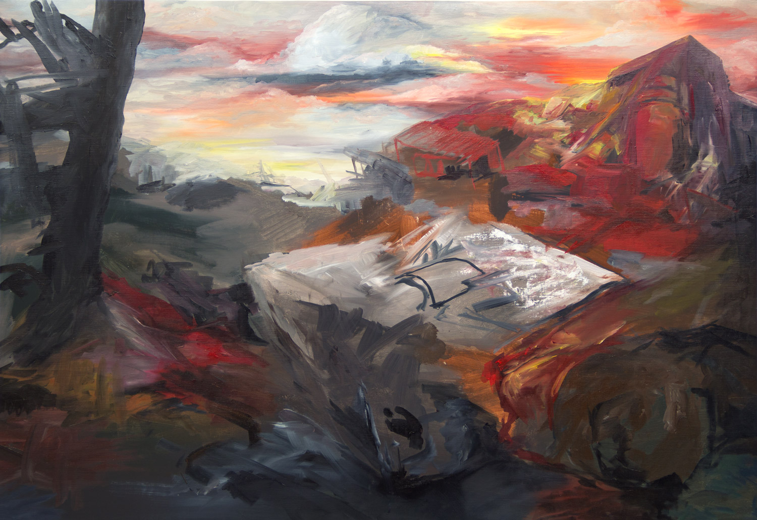 Eruption; 130 x 90 cm; oil on canvas; 2019