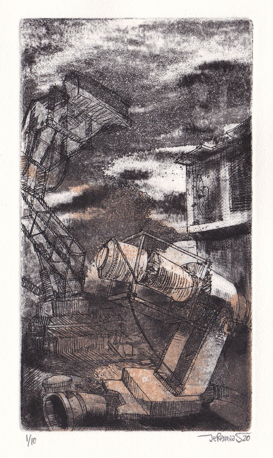 From the series: MACHINES 020; 8 x 14 cm; etching; 2020