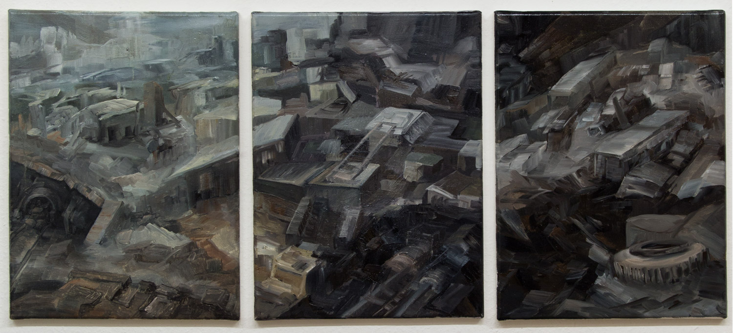 Mines (triptych); 30 x 40 cm each; oil on canvas; 2020