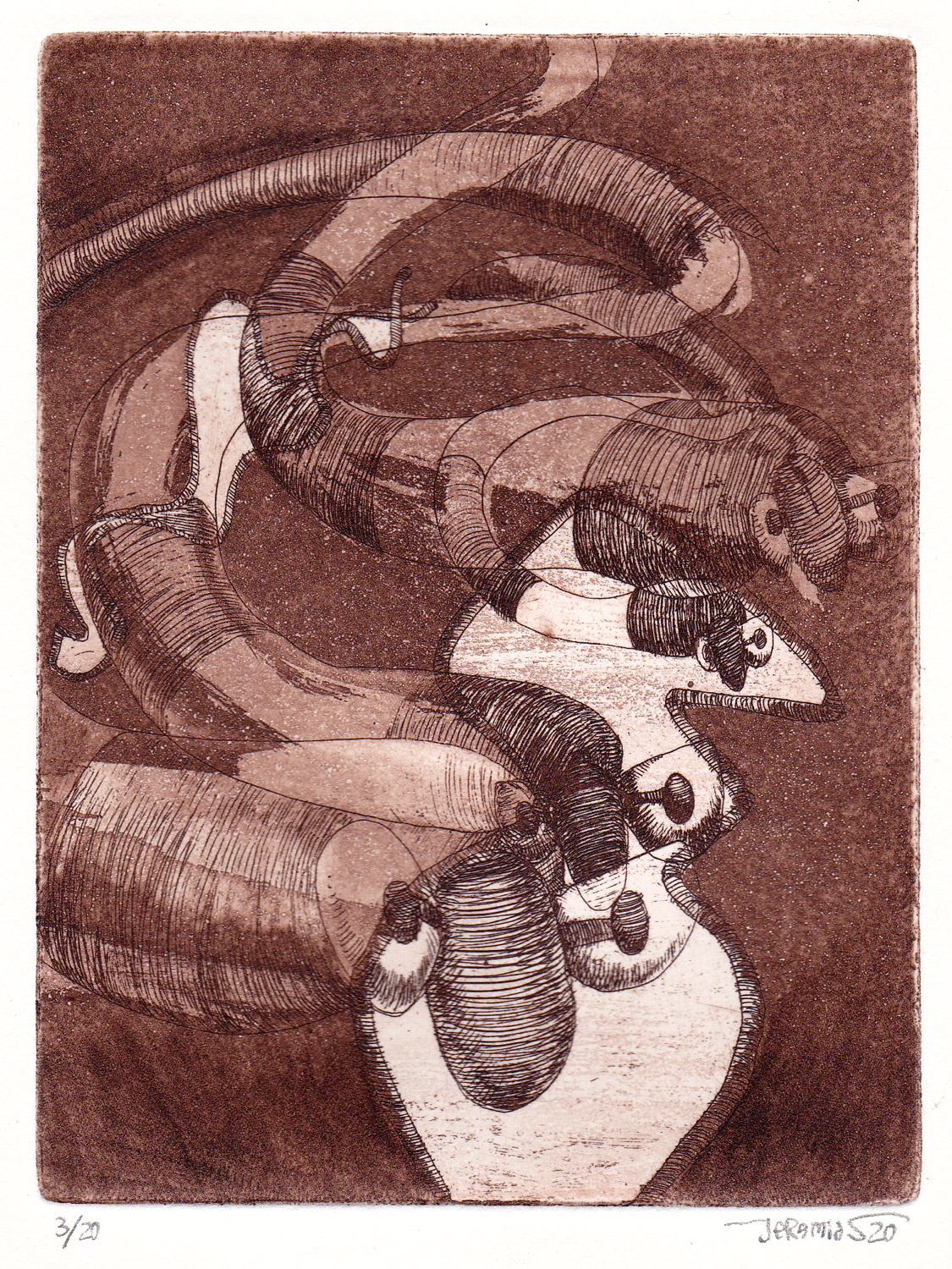 Cocoon Repetition; 11 x 14 cm; etching on etching paper; edition of 20; 2020