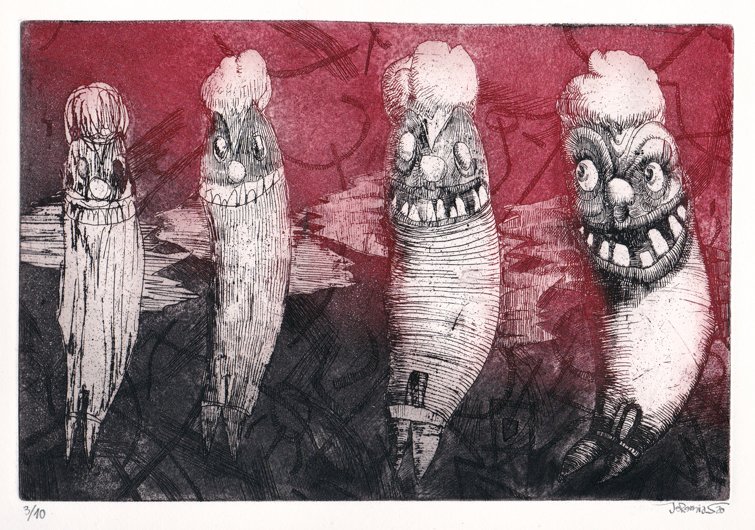 Evolution Clown; 23 x 15 cm; etching on etching paper; edition of 10; 2020