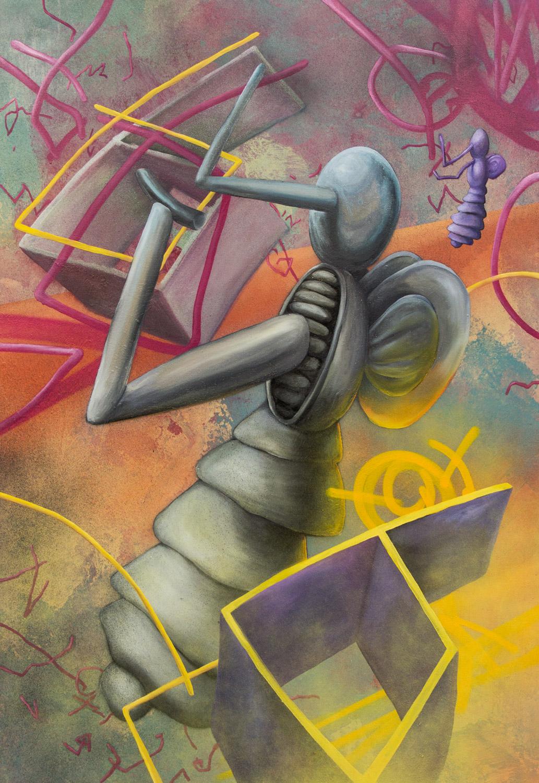 Larva; 90 x 130 cm; acrylics and oil on canvas; 2020