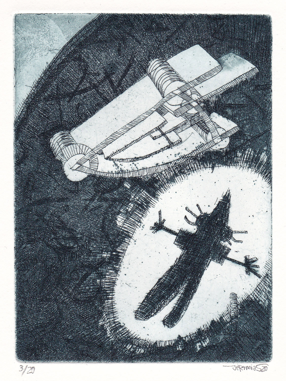 Passenger; 11 x 14 cm; etching on etching paper; edition of 20; 2020