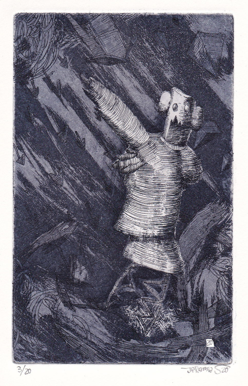 Problematic Person; 11 x 14 cm; etching on etching paper; edition of 20; 2020