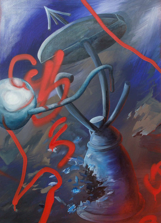 Secret Device; 65 x 90 cm; acrylics and oil on canvas; 2020