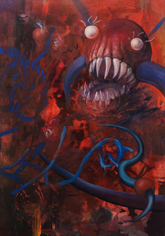 Misunderstanding; 70 x 100 cm; acrylics and oil on canvas; 2021